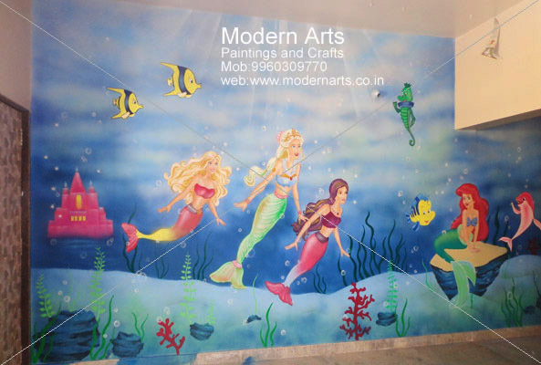 3d wall painting art mural wall painting artist in vashi painting mumbai children bedroom