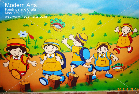 cartoon wall painting for school in vashi - Cartoon Painting For Kids