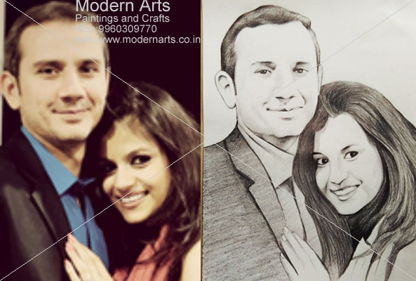 Couple pencil sketch mumbai · family pencil sketch artist