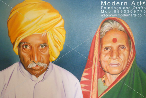 Pencil sketch artist in vashi · couple oil colour portrait painting